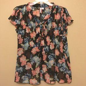 Tops - Black semi sheer floral top